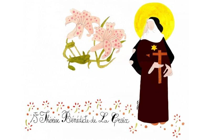 Aquarelle Thérèse-Bénédicte de la croix
