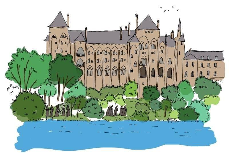 Dessin Abbaye Solesmes