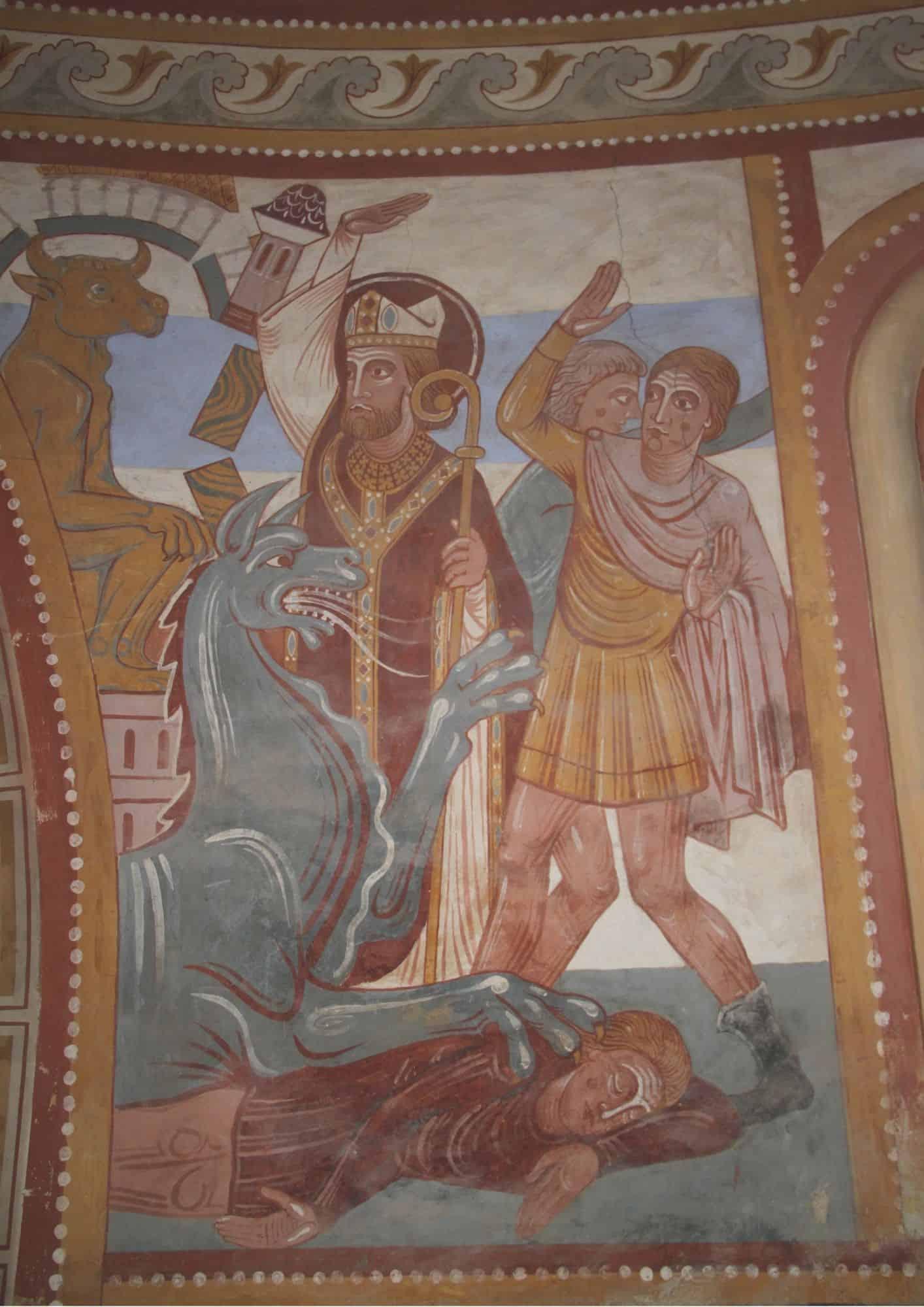 Julien détruisant les temples païens, fresque Poncé-sur-Loir